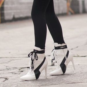 Shoes - NEW White Lace Up Booties